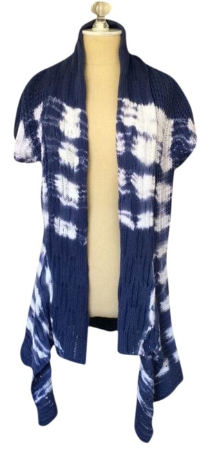 Item - Blue and White Tie Dye Sweater Cardigan Size 4 (S)