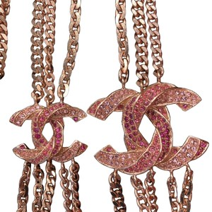 Chanel Pink Rose Gold Chain Necklace with Rhinestone Cc Charms 7185