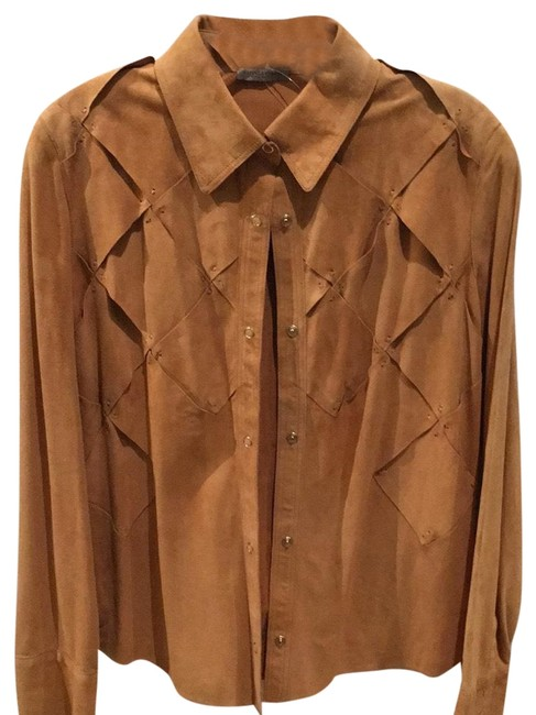 Item - Sand Rust Desert Color Suede Shirt Button-down Top Size 6 (S)