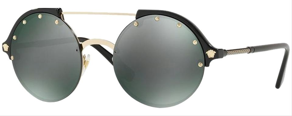 4a44ea0b8ac Versace Black Gold Frame   Dark Grey Mirrored Green Lens Women Round  Sunglasses