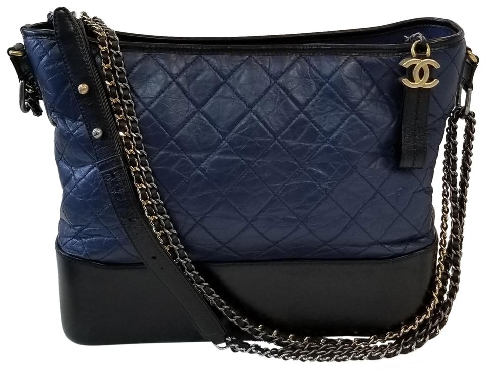 dd459668dd3904 Chanel Gabrielle Hobo Blue Calfskin Leather Cross Body Bag - Tradesy