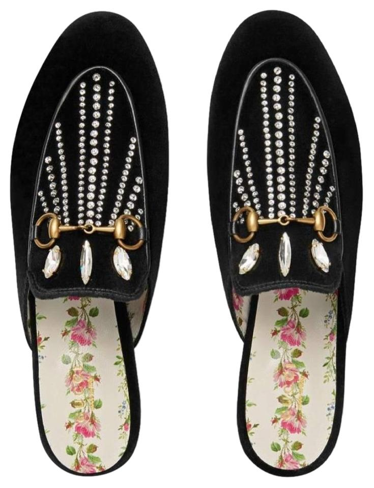 f8973516a Gucci Black Princetown Velvet Slippers with Crystals Flats Size EU ...