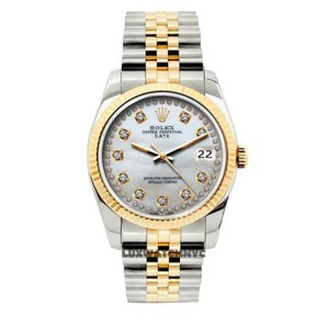 Rolex Gold & Stainless Steel 34mm Date 2-tone Diamond with Box Appraisal Wat