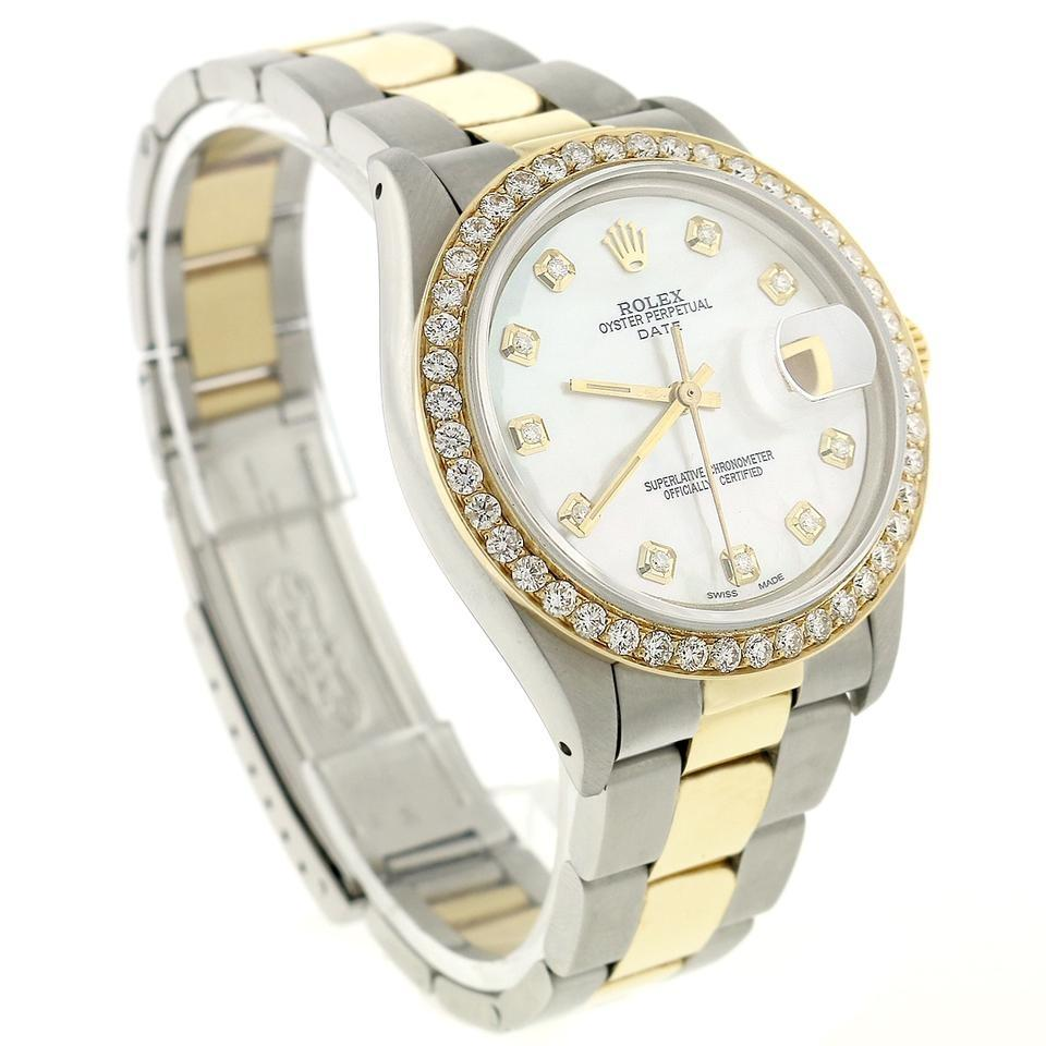 2c040873fd8e Rolex 2-tone Stainless Steel and 18k Yellow Gold Date Gold Steel 34mm  Oyster Perpetual with Diamond Bezel Dial Watch