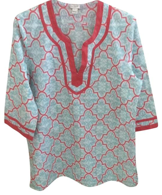 Item - White Coral and Teal Rn 77388 Tunic Size 12 (L)