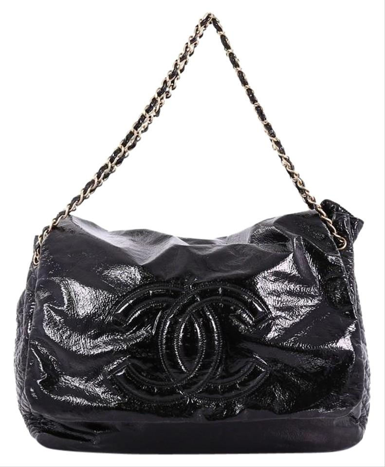 3c673ab3cb09 Chanel Classic Flap XL Rock and Chain Patent Black Leather Shoulder Bag