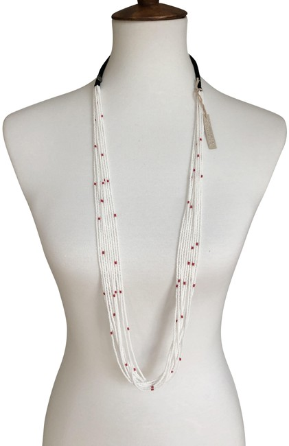 Item - White & Red New Multi Strand Seed Bead Color: White/Red Necklace