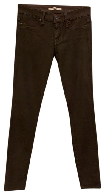 """Item - """"oxblood Leather"""" Coated 1575709c Skinny Jeans Size 0 (XS, 25)"""