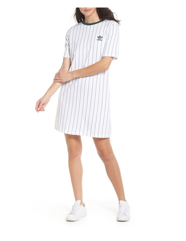 d739ad51d adidas White Women's Stripe T-shirt Dress Activewear Sportswear Size 6 (S,  28)