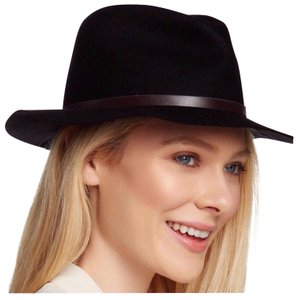 Free Press BLACK WIDE BRIM VEGAN LEATHER BAND FEDORA HAT