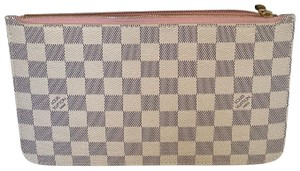Louis Vuitton Pouchette Neverfull pouch (gm or mm) Damier azure with rose ballerine canvas wristlet