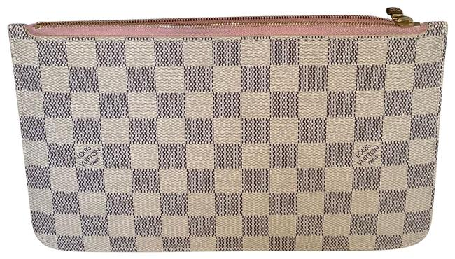 Item - White Neverfull Pochette Pouch (Gm Or Mm) Damier Azure with Rose Ballerine Canvas Wristlet Cosmetic Bag