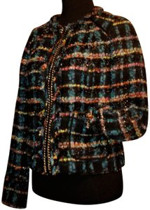 Carlisle Tweed Fringe Wool Cropped Multi Color Blazer