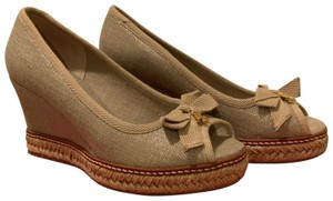 Tory Burch Espadrille Logo Canvas Peep Toe beige, gold Wedges