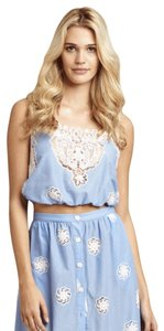 b5ed3a521814 Miguelina Paisley Broderie Top sky blue