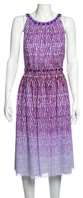 Item - Purple Silk Embellished Short Casual Dress Size 14 (L)