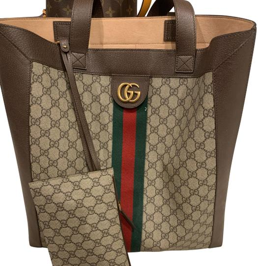 aab8e9a2d32 Gucci Ophidia Soft Gg Supreme Large Brown Canvas Tote - Tradesy
