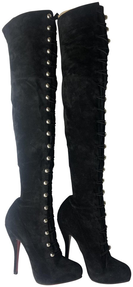 a7a0d3d9bd8 Christian Louboutin Black Supra Fifre 120 Suede Thigh-high Over Knee Boots  Booties