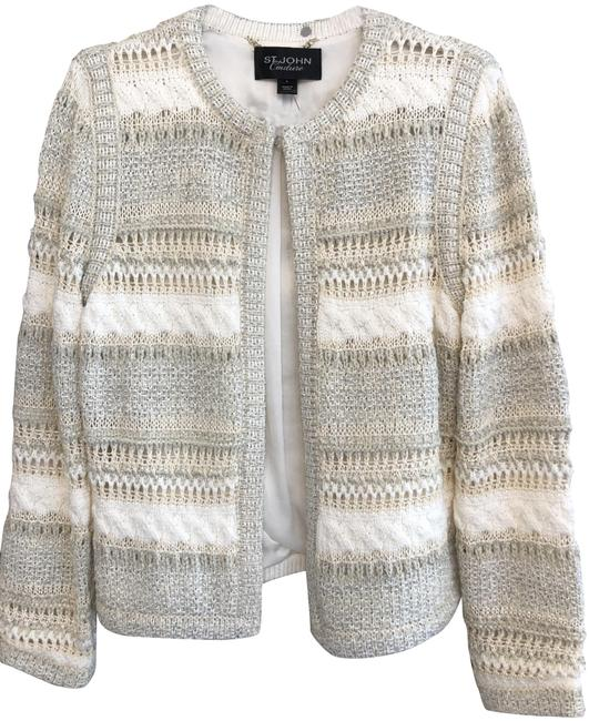 Item - White/Tan/Silver Couture Jacket Size 6 (S)
