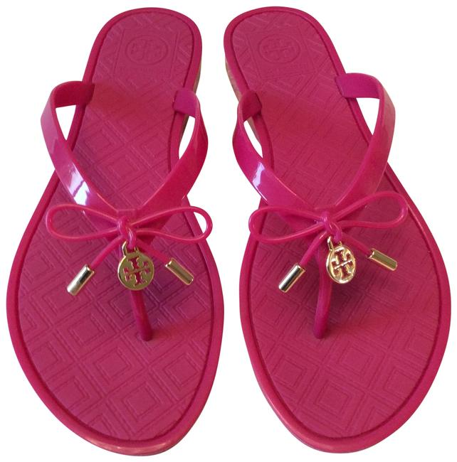 Item - Saucy Pink Jelly Bow Thong Sandals Size US 7 Regular (M, B)