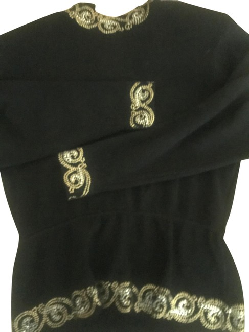 Item - Black Vintage Top with Gold and Crystal Embellishment Skirt Suit Size 8 (M)