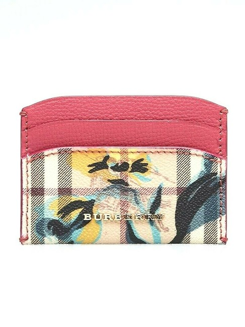 Item - Pink W Women's Flower Check Print Izzy Leather Card Case Wallet
