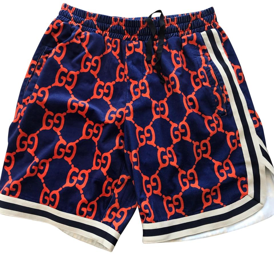 14e58e110 Gucci Navy and Orange Monogram Street Style Shorts Size 12 (L, 32 ...