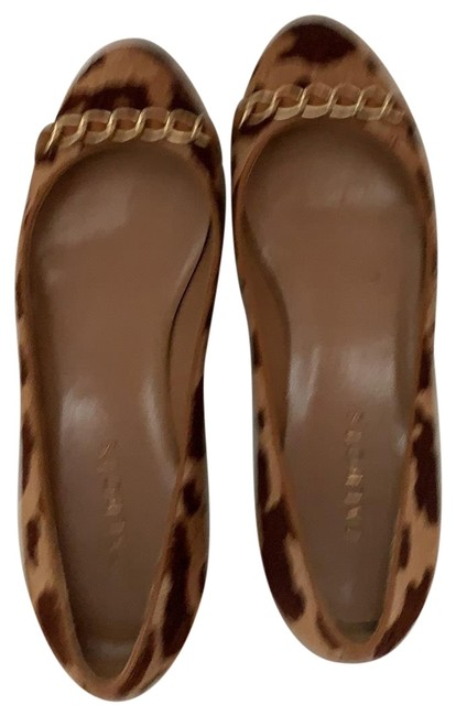 Item - Tan Camel Brown Pony Hair & Leopard Print with Gold Chain Hardware Flats Size US 7 Regular (M, B)