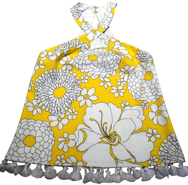 Item - Multi Colored Yellow Black and White Halter Top Size 4 (S)
