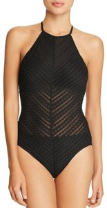 Robin Piccone Robin Piccone Black Carly High Neck One Piece Swimsuit Size 10
