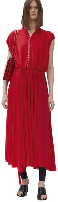 Item - Red Crepe Viscose Jersey Studded Leather Neckline Long Casual Maxi Dress Size 12 (L)