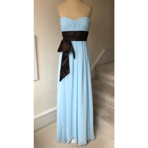 Bill Levkoff Blue and Brown Chiffon Strapless Sweetheart Gown #521 Formal Bridesmaid/Mob Dress Size 4 (S)