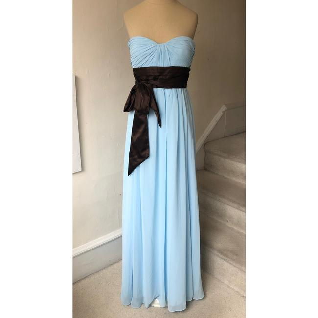 Item - Blue and Brown Chiffon Strapless Sweetheart Gown #521 Formal Bridesmaid/Mob Dress Size 4 (S)