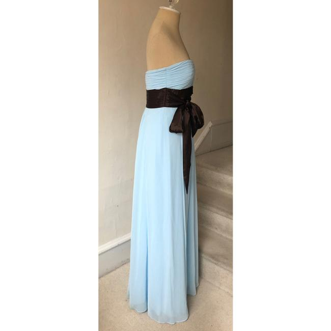 Bill Levkoff Blue and Brown Chiffon Strapless Sweetheart Gown #521 Formal Bridesmaid/Mob Dress Size 4 (S) Bill Levkoff Blue and Brown Chiffon Strapless Sweetheart Gown #521 Formal Bridesmaid/Mob Dress Size 4 (S) Image 2