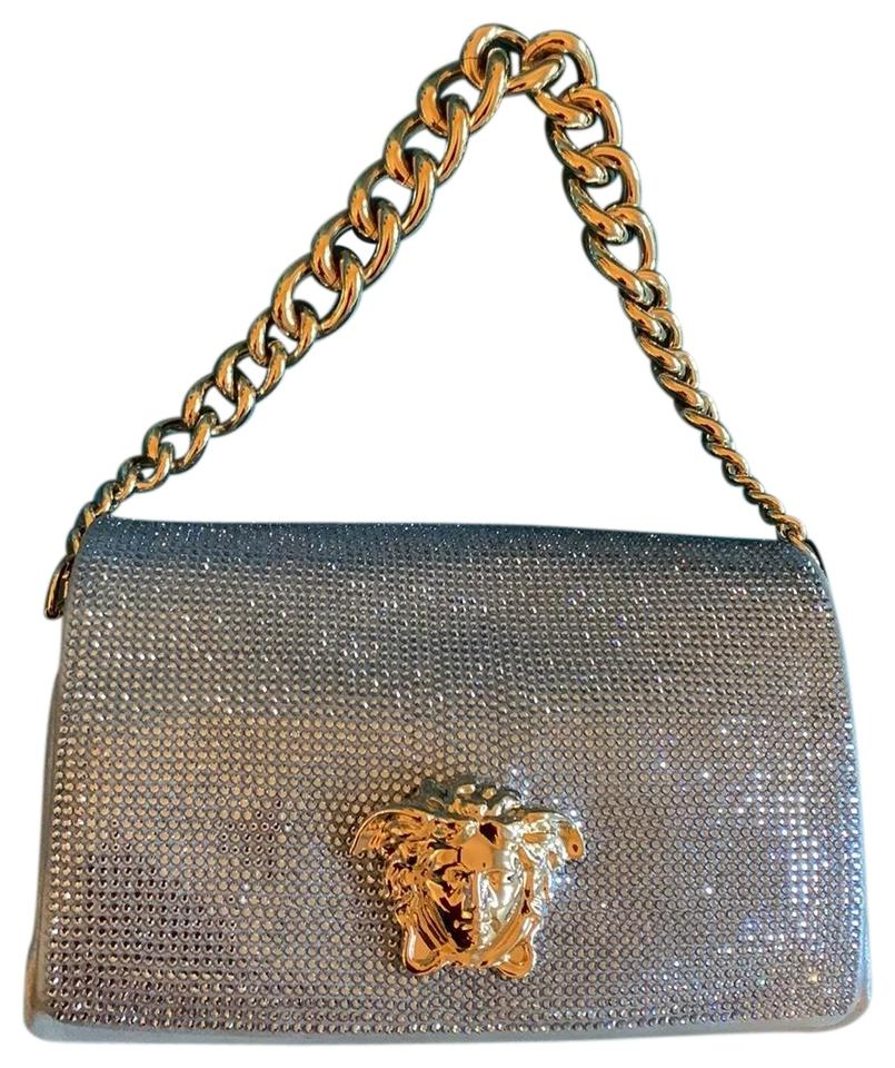 aa50e896665 Versace Sultan Crystal with Medusa Emblem Logo Silver Blue Leather ...