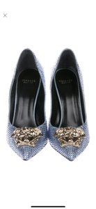 Versace light blue with crystals Pumps