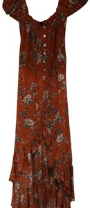burnt sienna floral Maxi Dress by Olivaceous