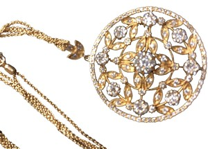 d1ca2dfbf073a Macy s Round filigree Diamond and gold pendant on double chain
