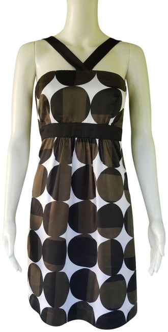 Item - Brown Black White. Circle Print Silky Mid-length Short Casual Dress Size 6 (S)