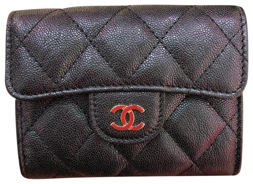 1fa2ee436dc1 Chanel Black Iridescent XL 19s / O Coin Purse / Cardholder Wallet ...
