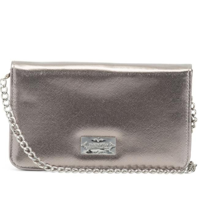 Item - Wallet on Chain Silver Saffiano Leather Cross Body Bag