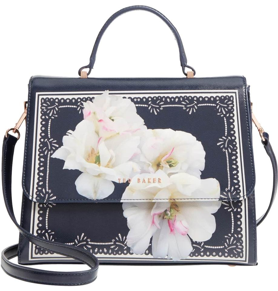 e9a1f6d4d16 Ted Baker Gardenia Faux Leather Tote Navy Pvc Satchel - Tradesy