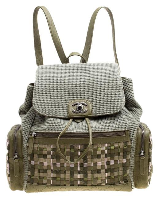 Item - Khaki and Leather Cuba Pocket Green Canvas Backpack