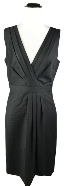 Item - Black Wool Suiting Surplice V-neck Sleeveless Career Wrap Mid-length Formal Dress Size 4 (S)