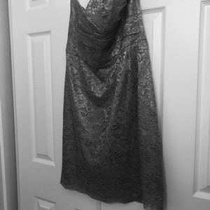 David's Bridal Gray Lace Beauty Formal Bridesmaid/Mob Dress Size 10 (M)