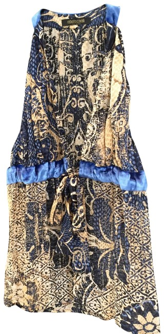 Item - Gold and Navy Halter Top Size 2 (XS)