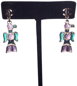 Chanel nwt CHANEL A07 Silver & Gripoix Totem Eagle CC Post Earrings