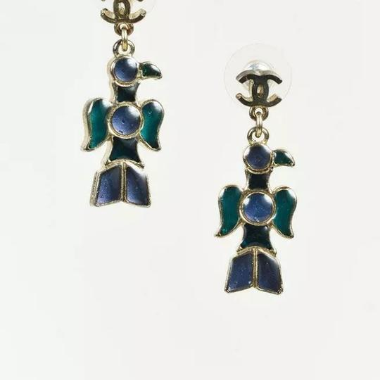 Chanel nwt CHANEL A07 Silver & Gripoix Totem Eagle CC Post Earrings Image 8