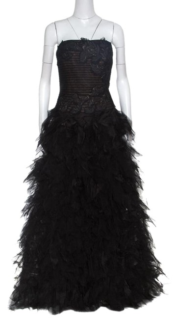 Preload https://img-static.tradesy.com/item/25079852/tadashi-shoji-black-tulle-embroidered-faux-feather-strapless-gown-m-long-casual-maxi-dress-size-8-m-0-1-650-650.jpg