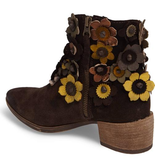 Anthropologie 3-d Flower Floral Floral Applique Sheridan Mia Floral NEW Sunflower Brown Suede Boots Image 1